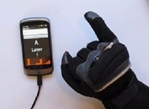Electronic glove translates sign language into text for wireless display on devices
